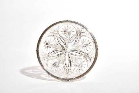 Large Silver Mounted Cut Glass Bowl
