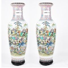 Monumental Pair of Chinese Famille Rose Porcelain Vases