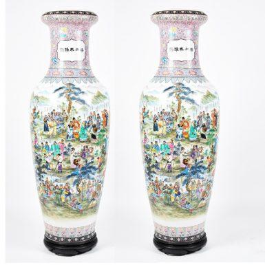 Monumental Pair of Chinese Famille Rose Porcelain Vases