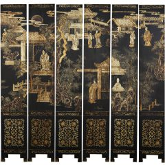 Chinese Black-lacquer Coromandel Twelve Panel Screen