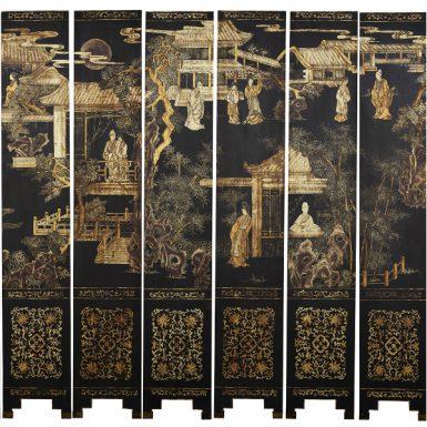 Chinese Black-lacquer Coromandel Twelve Panel Screen