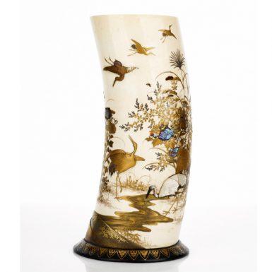 Japanese Shibayyama Ivory Vase Supported on a Gilt Lacquer Stand