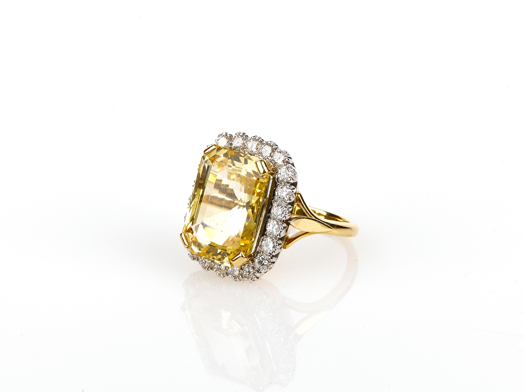 c6b97adf534f4 Yellow Sapphire and Diamond Cocktail Ring - Shapiro Auctioneers