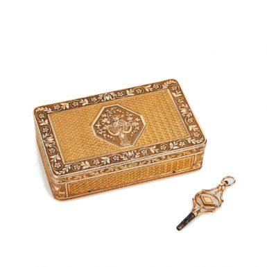 Swiss Gold Musical Snuff Box Carillon