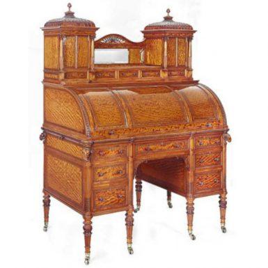 Important Victorian Satinwood Cylinder Top Desk