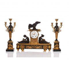 Regency Style Bronze and Parcel-gilt Bracket Clock